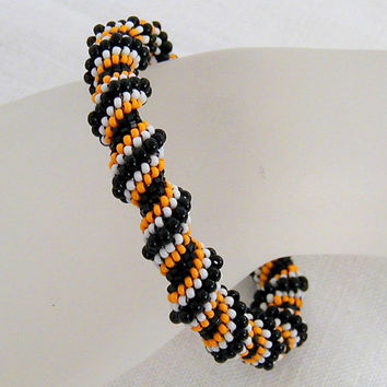 Halloween Cellini Spiral Beadwoven Bangle Bracelet      ~Black and Orange Bangle~Beadwoven Bangle~ Halloween Bracelet~Boho Bangle Bracelet