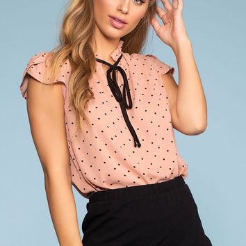 Swiss Connection Tie-Front Top - Blush