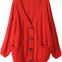 ROMWE | Chunky Cable Knit Red Cardigan, The Latest Street Fashion