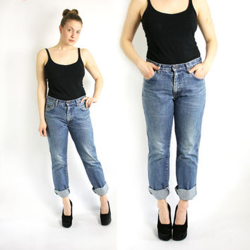 Vintage 80's 90's Wrangler Washed Out Blue Boyfriend Jeans Medium Waist W 32 L 32