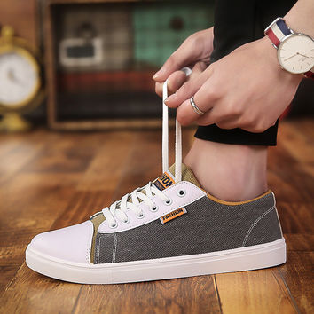 2017 Fashion Men Canvas Shoes Breathable Casual Shoes Loafers Comfortable lace-up Flats