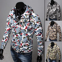 Men's Camouflage Style Zip Jacket with Hood