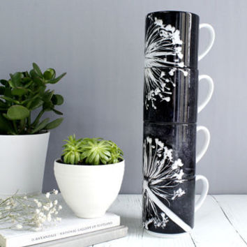 Bold Black And White Floral Print Stacking Mug