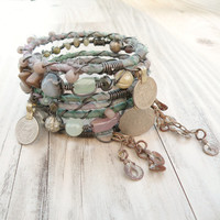 Silk Road Gypsy Bangles, 7 Stack, Mossy Driftwood, Bohemian Tribal Bracelets, Silk Wrapped and Beaded