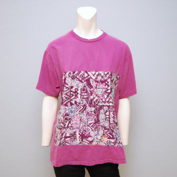 Vintage 1980's/1990's Magenta T-shirt with Abstract Pattern Size XL Surfer Tee Shirt Retro Hipster Tshirt Pattern Patch