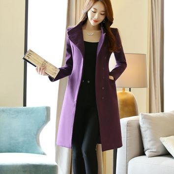 Winter woman wool Blend coat MD-LONG Oversize coats female Button pocket decoration warm jacket coat lady Outwear Wool Coat