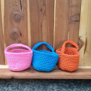 "Crochet doorknob basket, twine with handle, 2.5"" wide, orange, pink, blue storage bin, sturdy hanging organizer"