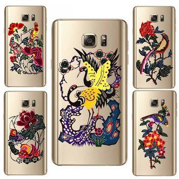 Case For SamSung S7 S8 Plus A7 A3 S8 S6 A5 2017 S7 Edge Note 5 Mobile Phone Shell Hard PC Plant Patterned Flower Exotic Vintage