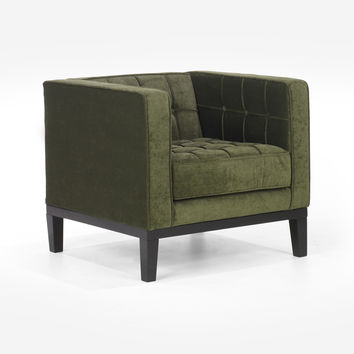 Roxbury Arm Chair In Tufted Green Fabric