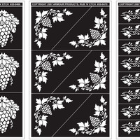 "grape designs glass etching stencil - 5"" x 8"""