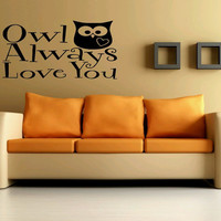 Wall Decor Vinyl Sticker Room Decal Art Cute Owl With Heart Always Love You Quote Words 937