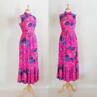 60s Dress / 60s Mod Dress / 60s Maxi Dress / 60s Floral Dress / Silk Maxi Dress / Mod Dress