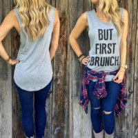 But First Brunch Print Gray Tank Top Shirt