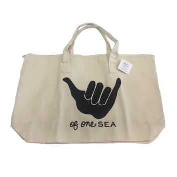 Canvas Zippered Tote Shaka with Black Ink