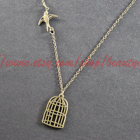 Silver Birdcage Necklace With Byebye Flying Sparrow Necklace