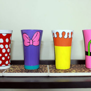 Disney Shot Glasses (Minnie, Daisy, Clarabelle, Ortensia)