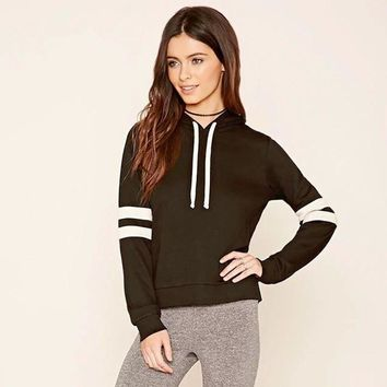Forever21 Fashion Casual Cool Female Multicolor Long Sleeve Hooded Sweater Short Section Tops