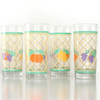 Vintage Glass Tumblers Set. Summer Cocktail Glasses. Garden Fruit Glasses. 1970s.  Mid Century Glassware.