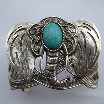 Antique Silver Plated Turquoise Elephant Cuff Bracelet