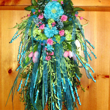 Spring wreath, Teardrop Vertical swag, Summer wreath, Door Swag, aqua wreath, wispy wreath, door decor, spring swag, spring wreath, swag