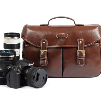 Coffee Vintage Look Britpop DSLR Camera Bag  Shoulder PU Bag Christmas Gift