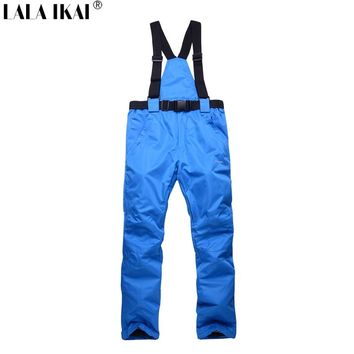 LALA IKAI Winter Skiing Pant Men Women Ski Pants Outdoor Sports Waterproof Windstopper Thermal Snowboard Pants Men HMA1324-45