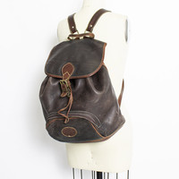 Vintage Leather Backpack - Eddie Bauer Brown Heavy Weight Leather & Brass Oversized Weekender Bag