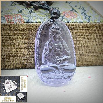 Yumten Natural Crystal Amethyst Pendant Necklaces Buddha Jewelry Women Men Buda Necklace Figure Fine Trendy Necklaces 30mm*50mm