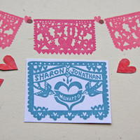 Hand Carved Papel Picado with Your Last Name Stamp -DIY Wedding Stationery, Save the Date, Engagement, Invitations, Thank You Cards-