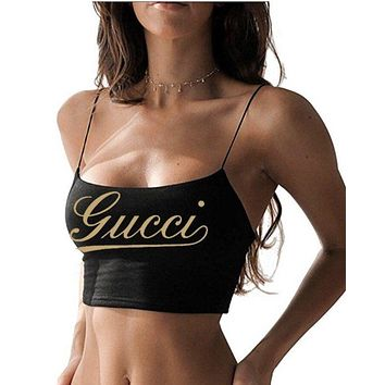 FENDI BALENCIAGA GUCCI DIOR LV Trending Women Stylish Print Vest Crop Top