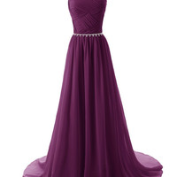 2015 Evening Dresses A Line Sleeveless Floor length Dress star Chiffon Zipper Up dress Long Bridesmaid Dress Beading Ball Gown-purple 142214124 SD184