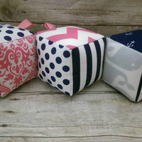 Baby girl nautical toy soft blocks - navy hot pink nursery photo prop decor - set of 3 minky fabric baby blocks