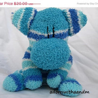 ENTIRE SHOP on SALE Sockimamy Harper a turquoise, aqua, blue and white striped fuzzy sock monkey, hand stitched, retro monkey, grey, boy mon