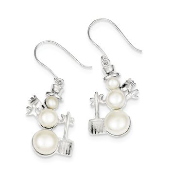 Sterling Silver Freshwater Cultured Pearl Snowman Dangle Earrings