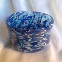 Blue and White Blown Glass Bowl With Subtle Spiral