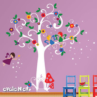 Children Wall Decal Wall Sticker Kids Decal - Fairy Tree with Flowers and Stars -Kids Wall Decals - PLFT010R