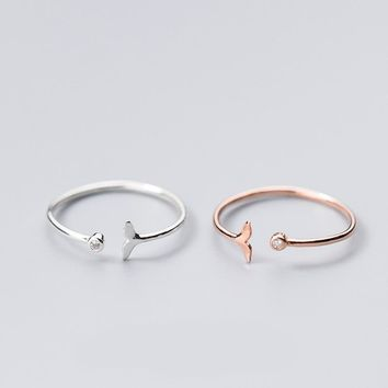 MloveAcc Authentic 925 Sterling Silver Adjustable Dolphin Mermaid Tail CZ Finger Rings for Women Sterling Silver Jewelry Gift