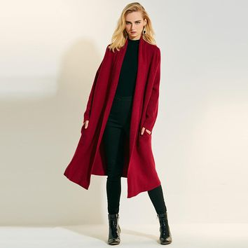 Causal knitting long knitted sweater cardigan woman 2018 autumn slim red knitting long sleeve cashmere green lapel open stitch