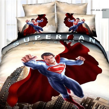 2014 new Fashion Superman classic brand 3D Bedding 4pcs pure cotton satin bedding set /comforter set/ duvet cover set/ bed sheet (Color: Yellow) = 1945927684