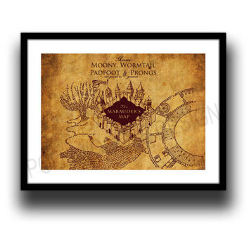 The marauders map print, Harry Potter map in A3 or A4 format