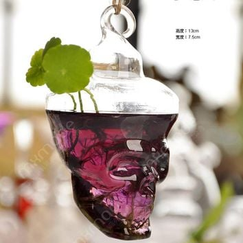 Skull Glass Vase Terrarium Vases Flower Pots Hanging Glass Halloween Modern Vaso Wedding Floor Air Planter Decoratives Vase