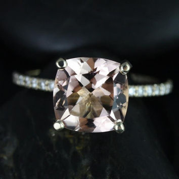 Heidi 9mm 14kt Yellow Gold Cushion Morganite and Diamond Basket Engagement Ring (Other metals and stone options available)