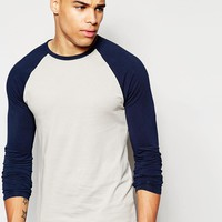 ASOS | ASOS Muscle Long Sleeve T-Shirt With Contrast Raglan Sleeves at ASOS