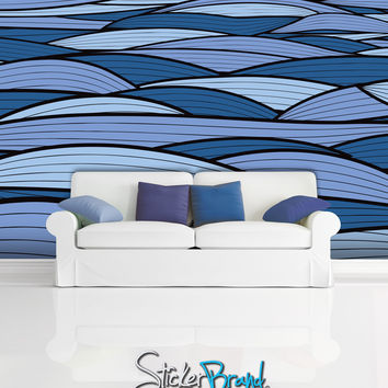 Wall Mural Decal Sticker Curl Ocean Blue/Purple  #MCrespo126