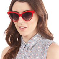 Vintage Inspired A Classic Treat Sunglasses in Ruby by ModCloth