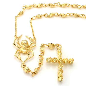 King Ice 14K Gold Spider Skull Rosary Necklace