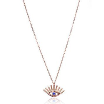 Gold Navy Blue Evil Eye with Eyelash Necklace 925 Sterling Silver