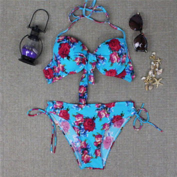 Floral Push Up Ethnic Halter Swimwear Set Swimwear
