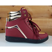 "Via Pinky Red Gold Trim 2"" Sneaker Wedge Shoe 6 - 10"