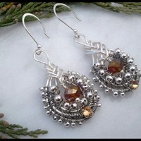 Chinese Knot Topaz Birthstone Silver Beaded Wire Wrapped Earrings